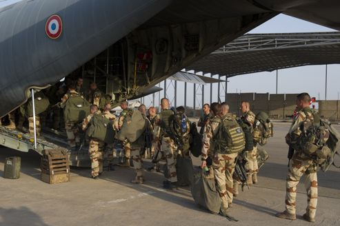 Into the Heart of Darkness: French troops boarding a transport plane in Ndjamena, Chad on Saturday.