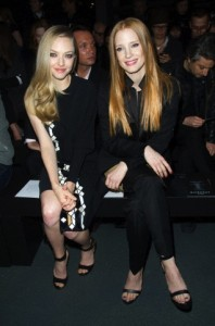 Amanda Seyfried and Jessica Chastain attend the Givenchy Autumn/Winter 2013/14 Ready-to-Wear Show