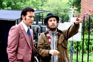 """Once more, Clive... this time, in English.""  Canet gives instructions to Clive Owen on the set of ""Blood Ties""."