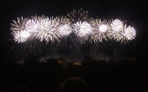 Citadel Under Siege: Carcassonne is lit up by giant fireworks half-way through the show.