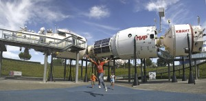 Meet the Mir: Children defying gravity outside a space station (pic - Toulouse Tourist Office)