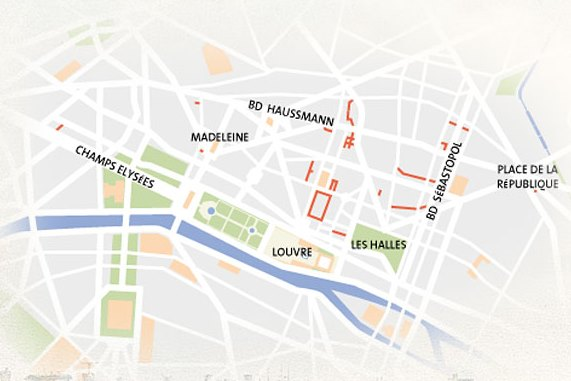 Perusing Passages: a map showing the location of the Parisian passages (courtesy of Passages et Galeries)