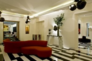 Interior Airiness: The groovy and curiously calming lobby area of the Marignan