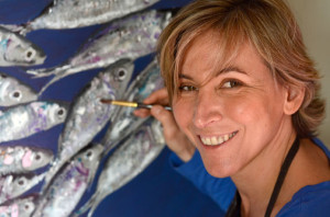 Marie Jolly at work on some of her trademark sardines