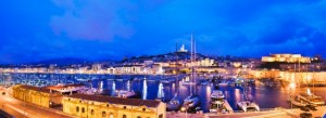 Night Life: View of the Vieux Port (Old Port), with the Basilique Notre Dame de la Garde in background (© Atlantide Phototravel/Corbis)