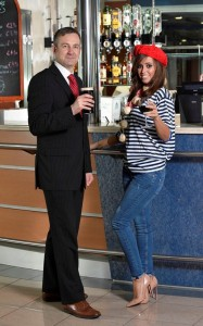 Ian Davies, Stena Line's Route Manager Irish Sea South shares a drink with Hayley Ryan as Stena announce their new service