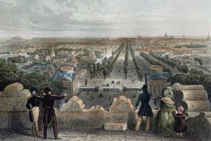 The Champs-Elysee as seen from the Arc de Triomphe in the mid-19th century