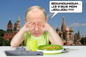 Will he throw the rattle out of the pram at the end of the month? Putin crying for his promised toy, as portrayed by a French wag.