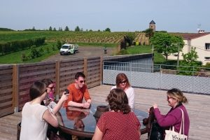 Rooftop round-table summit: a midday non-spitting tasting session with Irish journalists in the Loire Valley