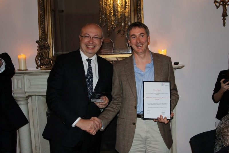 Conor Power receiving the award for best article in the Gastronomy & Wine category from French Ambassador Jean-Pierre Thébault at the inaugural French Travel Media Awards, 2 March 2016.