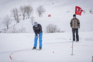 Easy does it: Golfing in the snow presents some additional challenges to the more normal variety