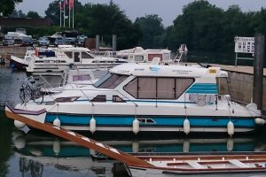 "The boat ""parked up"" at the marina in Cognac"